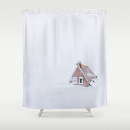 Minimalist orange house in a snowstorm in Iceland - Landscape Photography Shower Curtain