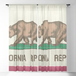 California Republic Flag Sheer Curtain