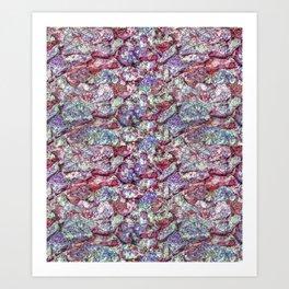 Grunge Organic Rocks Motif Pattern Art Print
