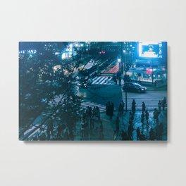 Shibuyacrossing at night - blue Metal Print