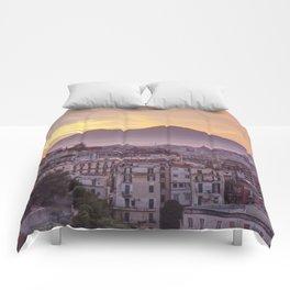Napoli, landscape with volcano Vesuvio and sea Comforters