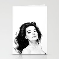 bjork Stationery Cards featuring Bjork by AnastasiumArt