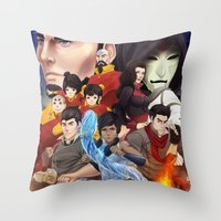 legend of korra Throw Pillows featuring Legend of Korra by Meder Taab