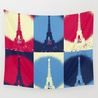 eiffel tower Wall Tapestries featuring Eiffel Tower by Aloke Design