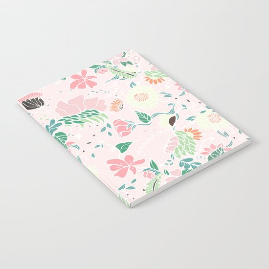 Modern pastel floral handdrawn blush pink illustration Notebook