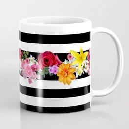 flowers on black and white stripes Coffee Mug