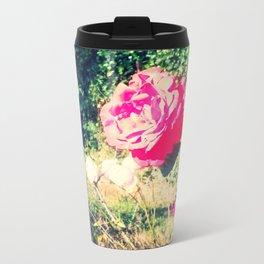 Pink Rose Metal Travel Mug