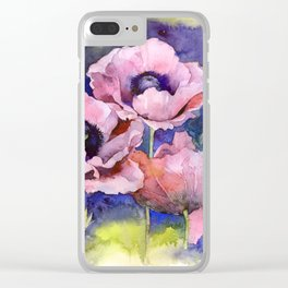 Watercolor Poppies Flowers Art Clear iPhone Case