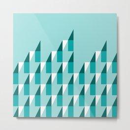 Retro geometric peaks teal op-art Metal Print