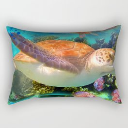 Turtles by a Reef Rectangular Pillow