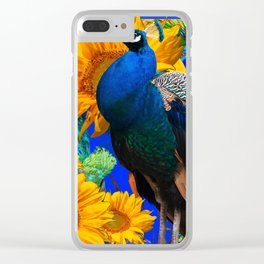 #2 BLUE PEACOCK &  SUNFLOWERS BLUE MODERN ART Clear iPhone Case