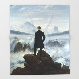 Wanderer above the Sea of Fog Painting by Caspar David Friedrich Throw Blanket
