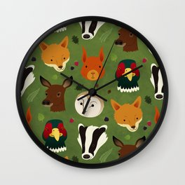 British Woodlands Wall Clock