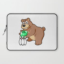 Bowling Bear Pins Ball Cartoon Comic Gift Laptop Sleeve