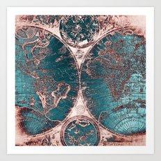 Antique World Map Pink Quartz Teal Blue by Nature Magick Art Print