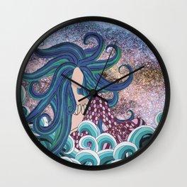 Midnight Blue Mermaid Wall Clock