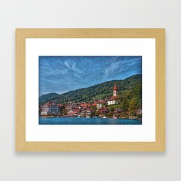 Lakefront Provincial Town Framed Art Print