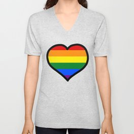 LGBT+ Rainbow Pride Heart Unisex V-Neck