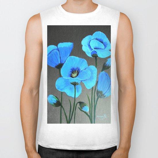 Blue poppies  Biker Tank