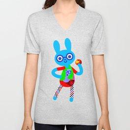 Bunny and Apple Unisex V-Neck