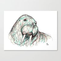 walrus Canvas Prints featuring Walrus by Ursula Rodgers