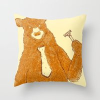 the office Throw Pillows featuring Office Bear by Tobe Fonseca