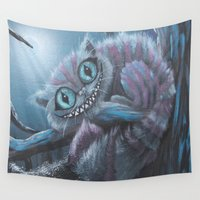 cheshire cat Wall Tapestries featuring Cheshire Cat by Annelies202