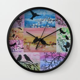collage of watercolor and acrylics by Australian artist Cathy Jacobs , Catherine Wall Clock