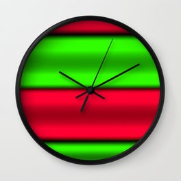 Green & Red Horizontal Stripes Wall Clock