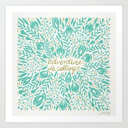Adventure is Calling – Turquoise & Gold Palette Art Print