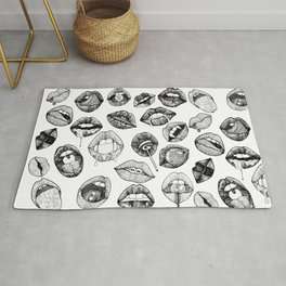 Hand Drawn Luscious Lips in Black and White Rug
