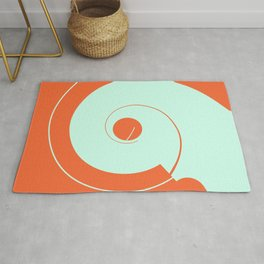 Abstract Shapes-Orange and Light Blue Rug