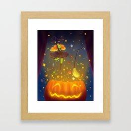 Witch Surprise From Pumpkin in Halloween Night Framed Art Print