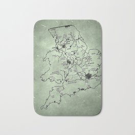 aged canal map Bath Mat