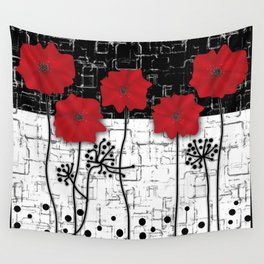 Applique Poppies on black and white background . Wall Tapestry
