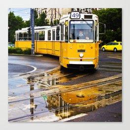 Yellow Budapest Tram Canvas Print