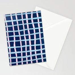 Pink and Blue Grid Stationery Cards
