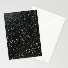 Terrazzo black with turquoise opaque Stationery Cards