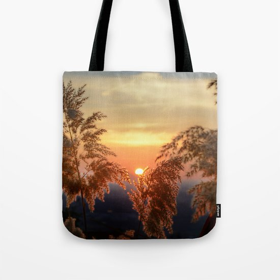 """Sun through the fields"" Sunset at the mountains Tote Bag"