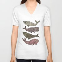 whales V-neck T-shirts featuring Whales by Saara Kaa