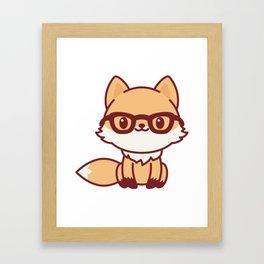 Kawaii Fox. Cute Little Fox Character in Glasses. Framed Art Print