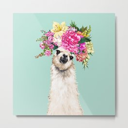 Flower Crown Llama in Green Metal Print