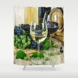 Glasses of Wine plus Grapes and Barrel Shower Curtain