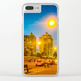 Night Scene Montevideo Cityscape Clear iPhone Case