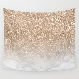 Sparkle - Gold Glitter and Marble Wall Tapestry