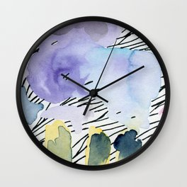 Purple match -watercolor wash and ink stripes Wall Clock