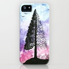 Silhouette of pine tree iPhone Case