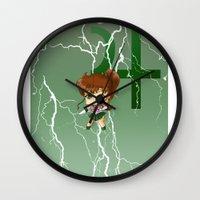 sailor jupiter Wall Clocks featuring Sailor Jupiter by artwaste