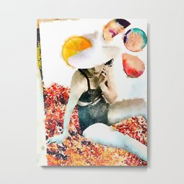 sun hat lady 1 Metal Print