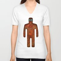 super hero V-neck T-shirts featuring Rust Man - Super Hero by Paul Stickland for StrangeStore